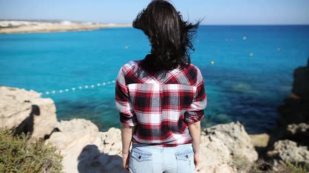 vento : Back view of young woman with wind in her hair standing on cliff and enjoying beautiful sea view. Relax concept
