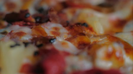 ham : Close up. macro pizza junk food