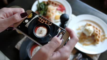 slanina : Female hands photographing appetizing food by smartphone in the restaurant.