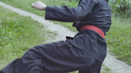 quimono : Close-up of the body of a master kung fu training outdoors. Slow motion