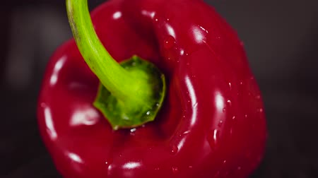 vitamin water : Drop of water flows down the pepper. Close up Stock Footage