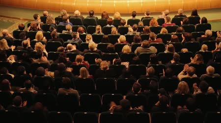 the conception : Cheerful Applause At A Premiere In Theater Stock Footage