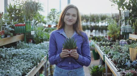 kwiaciarnia : Portrait of young girl holding a green plant to buy in indoor garden center Wideo