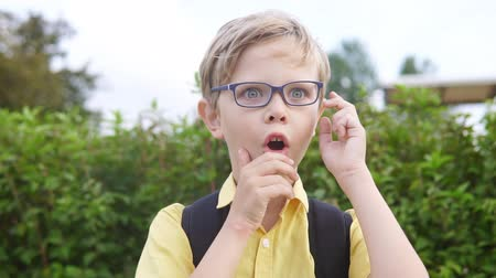 ámulat : Emotional portrait of blond boy in glasses. Handsome surprised child