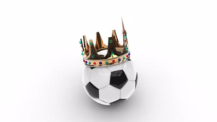 foul language : Soccer ball with crown on white background Stock Footage