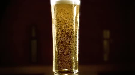 Close-up slow-motion Cold Light Beer in a glass with water drops on bar background. Craft Beer close up. Microbrewery