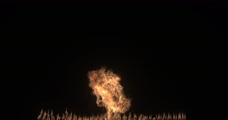 Slow motion Fire ball explosion. Flamethrower on black background. Gas burning. Pyrotechnics. Transition VFX element.