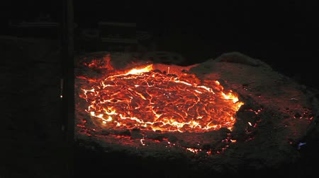 Foundry casting process of melting metal into a liquid in a furnace, black metallurgy manufacture.