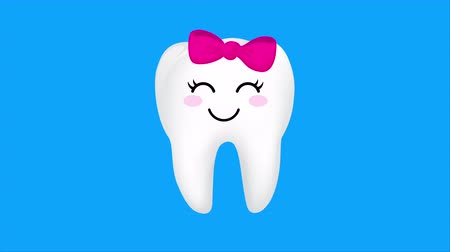 happiness symbol : Set of cute cartoon tooth emoticons with different facial expressions. Dental care concept. Animation design.