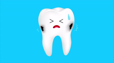 Unhealthy tooth character shaking from pain and crying.  The aching tooth with a caries. Dental care concept. Animation design