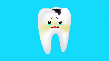 лечение зубов : Unhealthy tooth character shaking from pain and crying.  The aching tooth with a caries. Dental care concept. Animation design