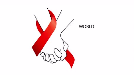 aids : World AIDS Day. Holding hands with Red ribbon. Aids Awareness animation design.