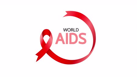 sida : Red ribbon in circle shape. World AIDS Day. Aids Awareness animation design.