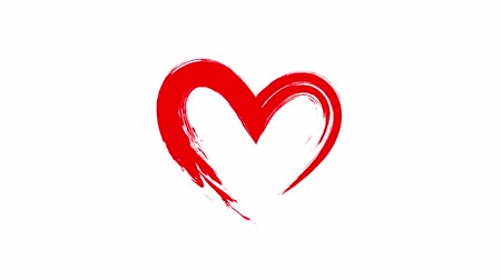 escovado : Heart written animation. Red heart in brush style on white background.