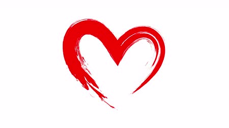 proposta : Red heart shape, brush style. Beating heart on white background. Vídeos