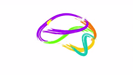 mindset : Abstract human brain written animation. Doodle hand drawn brush style. Creative idea symbol, icon design on white background.