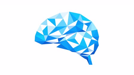 eficiente : Polygonal art of human brain design on white background. Brain consists of blue polygons. Abstract anatomy organ stock video. Stock Footage