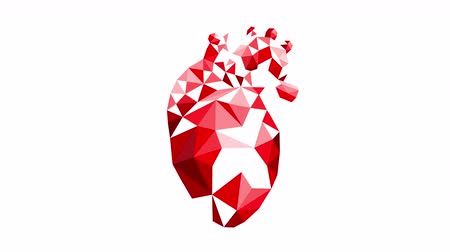 erek : Polygonal Heart Animation. Abstract red human heart on white background. Stock mozgókép