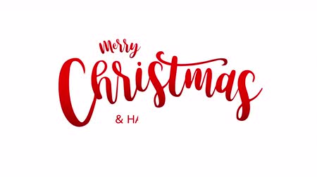 kaligrafia : Merry Christmas lettering design with snowflake, on white background. Animated footage idea for Christmas period.