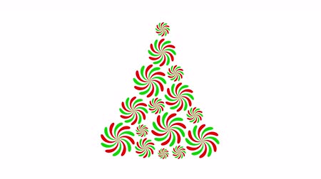 Rotating circle in Christmas tree shape. Animated footage idea for Christmas period. Stok Video