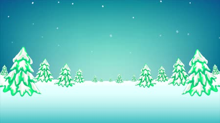 Winter  pine forest landscape falling snow. Merry Christmas motion graphic. Cartoon style with copy space background. Stok Video