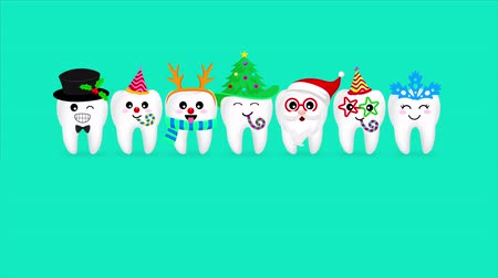 geyik : Set of Christmas tooth characters. Emoticons facial expressions. Funny dental care concept.  Animated footage idea for Christmas period.