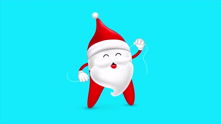 companheiro : Funny cartoon tooth wearing Santa suit, using dental floss. Dental care concept. Animated footage idea for Christmas.