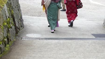Японская культура : Japanese girls wear kimono parasol and geta Japan sandal footwear Стоковые видеозаписи