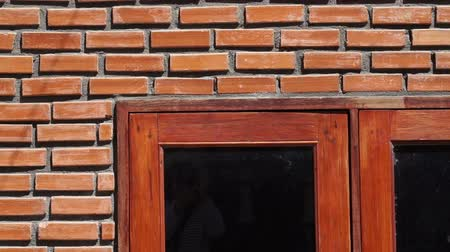 cegła : Video of red brick wall texture with wooden frame window