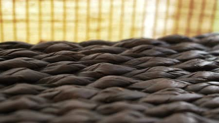 bamboo curtain : Close up of rattan texture horizontal tracking and bamboo curtain. Asian interior style Stock Footage