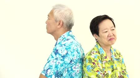 sorunlar : Video Asian senior couple fighting, pouting and get upset to each other on holiday trip Stok Video