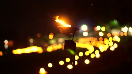 yeepeng : Video of Religious candle in loi Krathong lantern yeepeng night, Thailand. Thai traditional culture on full moon night Stock Footage