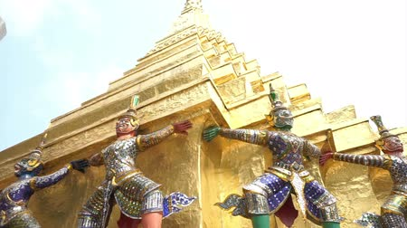 kaew : Giant guards angel at Wat Phra Kaew, Temple of the Emerald Buddha Landmark of Bangkok,Thailand Stock Footage