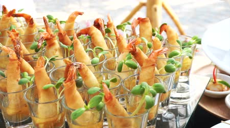 буфет : Assortment of Thai on Catering Buffet. Finger food fried spring roll for cocktail party appetisers Стоковые видеозаписи