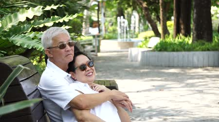 senior lifestyle : Asian senior couple stay together in nature. Talking and touching with love