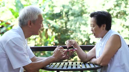 японский : Asian senior couple playing game together on smart phone having fun winning in park