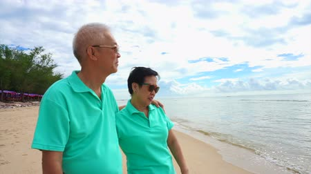 utazó : Asian senior couple stand at the beach at looking to ocean