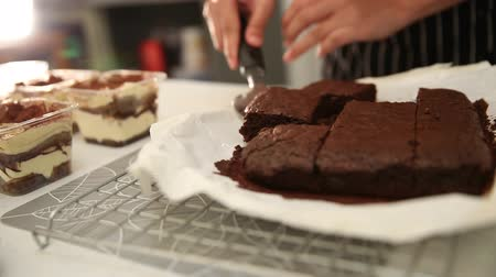 bakery : Bakery pastry cooking brownie and tiramisu Stock Footage