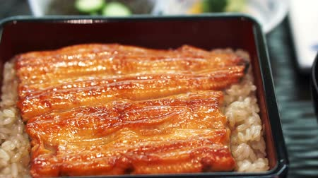 seafood dishes : Unagi don, Japanese premium dish marinated grilled sea eel with special sauce on top of rice