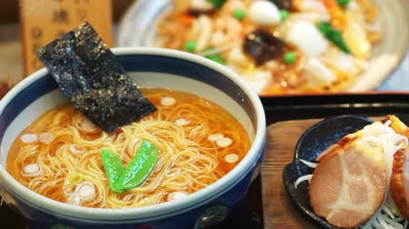 ramen : Spicy Japanese ramen noodles with spicy soup, pork and seaweed