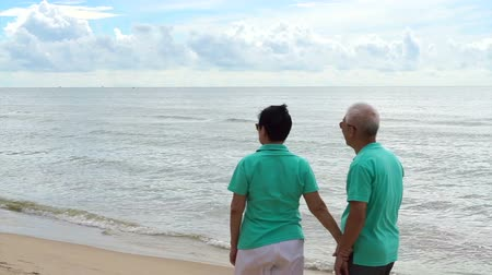 醫療保健 : Asian senior couple walking happily by the beach. Well plan retired lifestyle no financial problem 影像素材