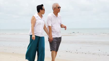 contentamento : Asian senior couple walking happily by the beach. holding hand and talk with each other