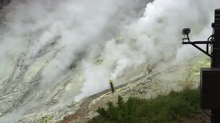 volatile : Hakone Owakudani active volcano valley. View from top seeing mine and steaming Stock Footage