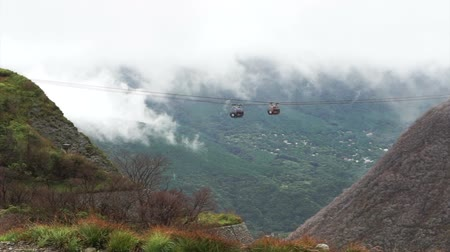 unlucky : Hakone ropeway, Japan landmark near Tokyo. Active hot spring with view of Fuji mountain Stock Footage