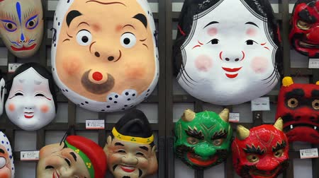 samuraj : Japanese classic masks displaying for sell in Asakusa as souvenir