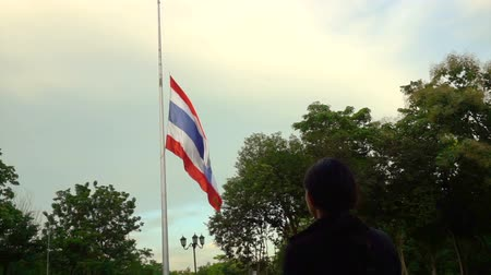 flag half mast : Half-mast or half-staff of Thai national flag in order to respect and mouring