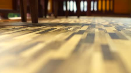 wood : Morning sun shining on Beautiful wood texture vinyl floor, interior material Stock Footage