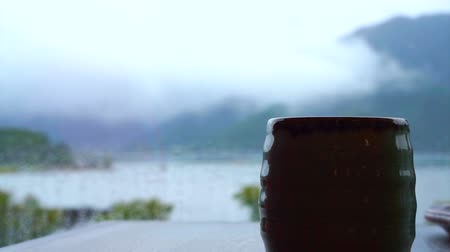 herbata : Relaxing drinking Japanese hot tea in front of Fuji mountain lake. Slow life, connect with nature zen style