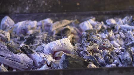 after fire : Slow motion smoke from burnt charcoal ashes after barbecue grill