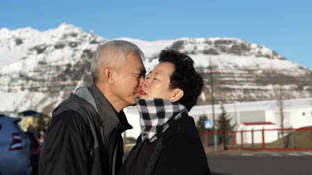 outside : Cute Asian senior couple happy honeymoon anniversary trip in Europe snow alp. Kissing on cheek Stock Footage